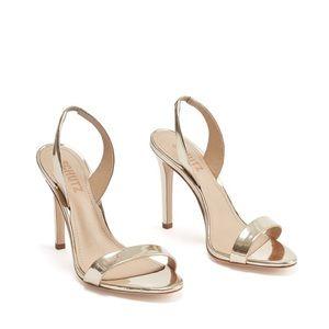 Schutz-luriane sandal heel metallic gold